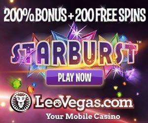 Banner image of the Leo Vegas casino featuring Starburst slot