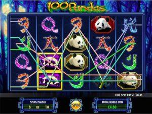 Screenshot image of the 100 Pandas slot bonus