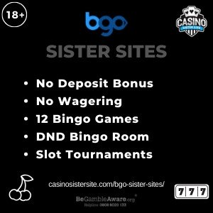BGO sister sites square banner with black background and the text: No deposit bonus, no wagering, 12 bingo games, DND bingo rooms and slot tournaments. the bottom left and right display the images of A cherry icon and a slot machine reel showing the matching 777. 18+ symbol on the top left corner and the BeGambleAware.org logo with Helpline: 0808 8020133 is displayed on the bottom center of the image.