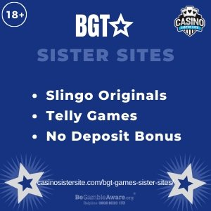 Britain's Got Talent Games Sister Sites square banner with Dark blue background and the text: Slingo originals, Telly games and no deposit bonus the bottom left and right display the images of Two stars. 18+ symbol on the top left corner and the BeGambleAware.org logo with Helpline: 0808 8020133 is displayed on the bottom center of the image.