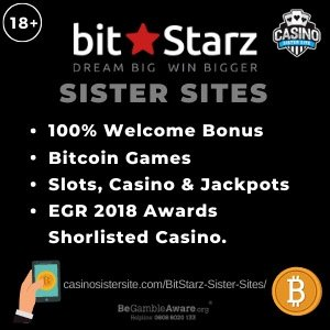 """Banner image of the BitStarz casino sister sites review showing the casino's logo and the text: """"100% welcome bonus, bitcoin games, slots, casino and jackpots, EGR 2018 awardsa shorlisted casino"""""""