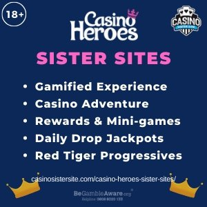 Casino Heroes sister sites square banner with purple background and the text: Gasified experience, casino adventure, rewards and mini games, daily drop jackpots and Red Tiger progressives. the bottom left and right display the images of Two king crowns. 18+ symbol on the top left corner and the BeGambleAware.org logo with Helpline: 0808 8020133 is displayed on the bottom center of the image.