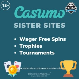 Casumo sister sites square banner with Turquoise background and the text: Wager free spins, trophies and tournaments. the bottom left and right display the images of Playing cards and a trophy. 18+ symbol on the top left corner and the BeGambleAware.org logo with Helpline: 0808 8020133 is displayed on the bottom center of the image.