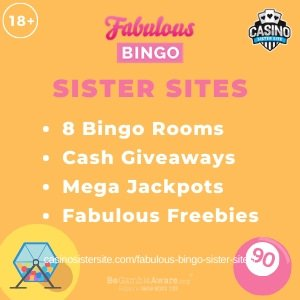 Fabulous Bingo sister sitessquare banner with yellow background and the text:8 bingo rooms, cash giveaways, mega jackpots and fabulous freebies.the bottom left and right display the images of A bingo ball drawer and a pink bingo ball.18+ symbol on the top left corner and the BeGambleAware.org logo with Helpline: 0808 8020133 is displayed on the bottom center of the image.