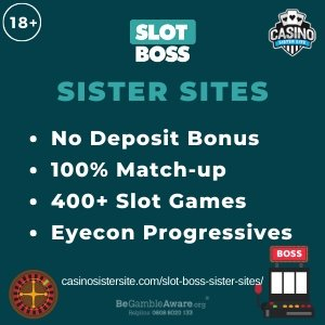 Slot Boss sister sites square banner with Turquoise background and the text:No deposit bonus, 100% match-up, 400+ slot games and Eyecon progressives.the bottom left and right display the images of A roulette wheel and a slot machine.18+ symbol on the top left corner and the BeGambleAware.org logo with Helpline: 0808 8020133 is displayed on the bottom center of the image.