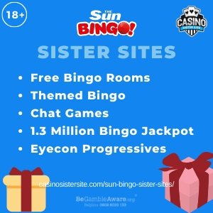Sun Bingo sister sitessquare banner with Light bluebackground and the text:Free bingo rooms, themed bingo, chat games, 1.3 million bingo jackpots and eyecon progressives.the bottom left and right display the images of Two gift boxes wrapped in beige and red with a bow.18+ symbol on the top left corner and the BeGambleAware.org logo with Helpline: 0808 8020133 is displayed on the bottom center of the image.