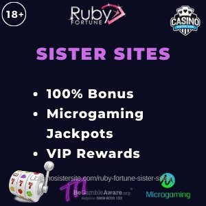"""Banner image for the Cashmo sister sites review showing the logo of the casino brand and the text: """"Ruby Fortune sister sites. 100% bonus. Microgaming jackpots. VIP rewards."""""""
