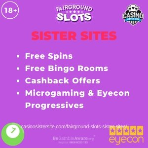 Banner image of the Fairground Slots sister sites review showing the brand's logo and the following text in bulletpoints: free spins, free bingo rooms, cashback offers, microgaming & eyecon progressives.