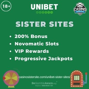 Banner image of the Unibet sister sites review showing the casino's logo and the text 'Sister Sites'. Below the text reads: 200% welcome bonus, Novomatic slots, VIP Rewards, Progressive Jackpots.