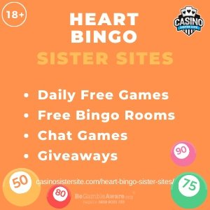Heart Bingo Sister Sites banner with orange background and text: Heart Bingo on top centred. Text: Sister Sites is displayed below in light orange font. Text in bullet points displayed in white font: -Daily Free Games, -Free Bingo Rooms, -Chat Games, -Giveaways is displayed centred. Four bingo ball gif-art images are displayed in the bottom corners. 18+ symbol and BeGambleAware.org logo with Helpline: 0808 8020133 are displayed on the top left corner.