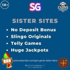 "Banner image of the Spin Genie sister sites review showing the text: ""No deposit bonus, Slingo originals, Telly games, Huge jackpots."""