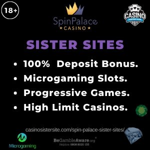"""Banner image of the Spin Palace sister sites review showing the text : """"Spin Palace sister sites. 100% deposit bonus. Microgaming slots. Progressive games. High Limit Casinos."""""""