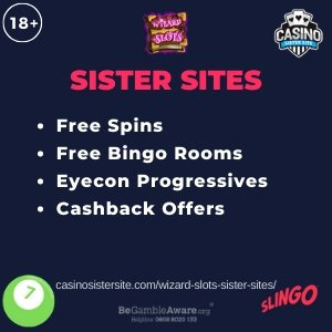 Banner image of the Wizard Slots Sister Sites review article showing the 18+ logo on the top left, then the Wizard Slots logo in top center and the Casino Sister Site logo on the top right. In the middle there is a bullet point list that reads: Free Spins, Free Bingo Rooms, Eyecon Progressives and Cashback Offers. At the bottom left there's an icon image of a bingo ball, the GambleAware logo and support telephone number and to the right the Slingo Originals logo.
