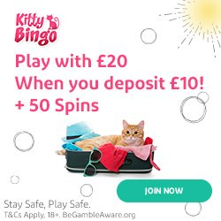 Banner image for the Kitty Bingo sister sites article showing the brand's logo and the text: Play with €20 When you deposit €10! + 50 Spins