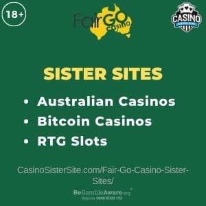 Fair Go Casino sister sites - 10 Australian casinos with Bitcoin and RTG games. 1
