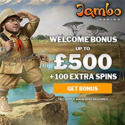 Image of the Jambo Casino promotion: Welcome Bonus Up To £500 +100 Extra Spins