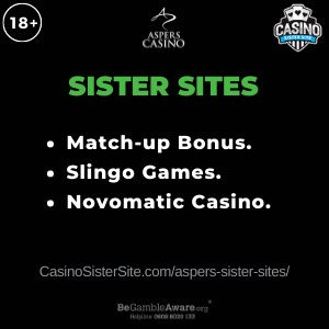 Banner image for the Aspers sister sites article showing the brand's logo and the text: Match-up bonus, Slingo games and Novomatic Casino.