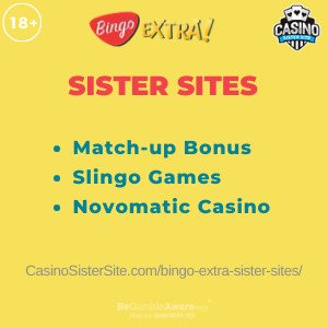 Banner image for the Bingo Extra sister sites article showing the brand's logo and the text: Match-up bonus, Slingo games and Novomatic Casino.