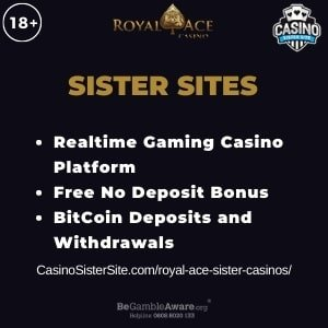 """Featured image for Royal Ace Sister Casinos with brand's logo and text: """"Realtime Gaming Casino Platform. Free No Deposit Bonus. BitCoin Deposits and Withdrawals."""""""