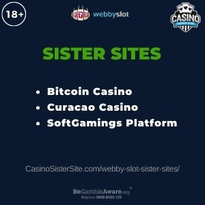 Banner image for the Webby Slot sister sites article showing the brand's logo and the text: Bitcoin Casino. Curacao Casino. SoftGamings Platform.